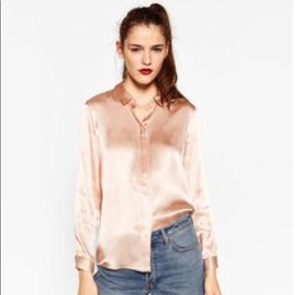 6d6fc3c03 Zara Blush Pink Satin Shirt. M_5ab3dfe78af1c5e27f2ac225
